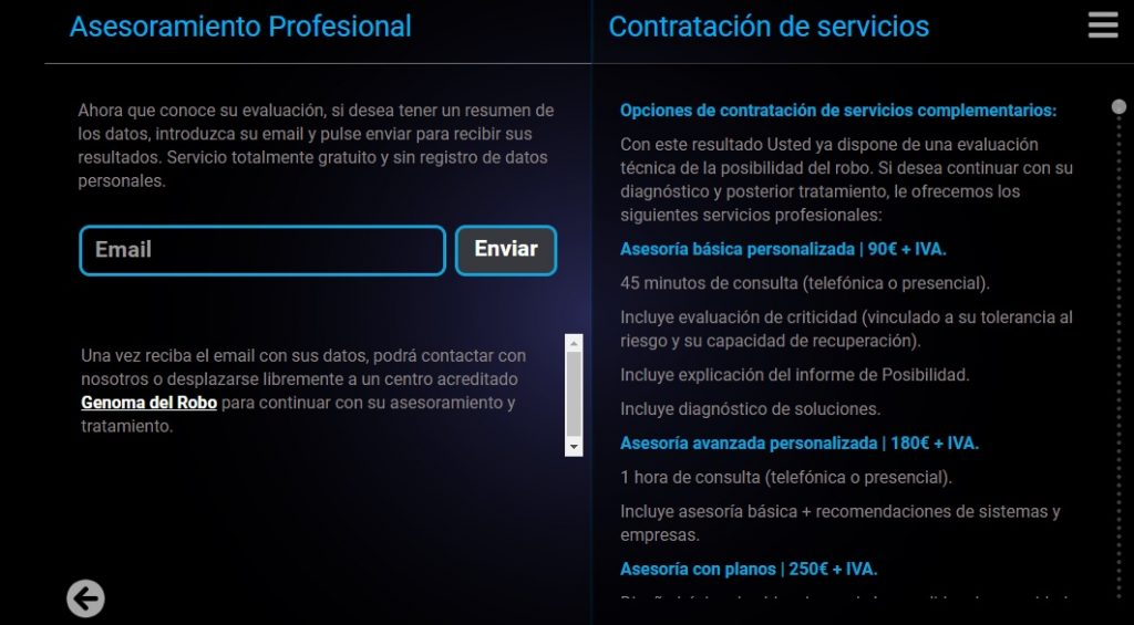 Servicios de asesoramiento contra el robo